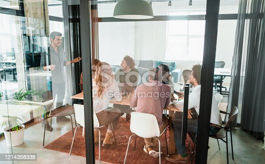 842214506 istock photo Creative team discussing plans during meeting. 1214358338