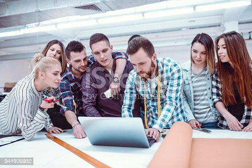 1083251186istockphoto Creative Team in a Textile Factory Working on Laptop 944926932