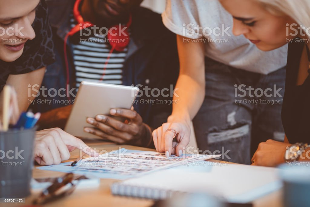 Creative team meeting at startup stock photo