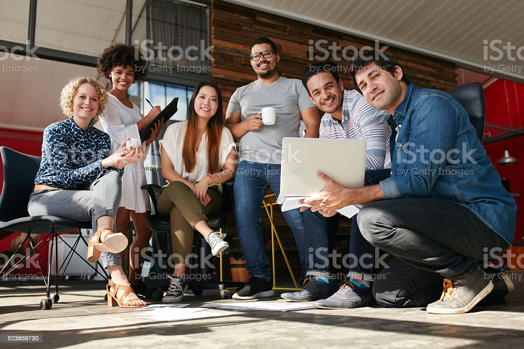Creative team meeting to discuss professional project stock photo