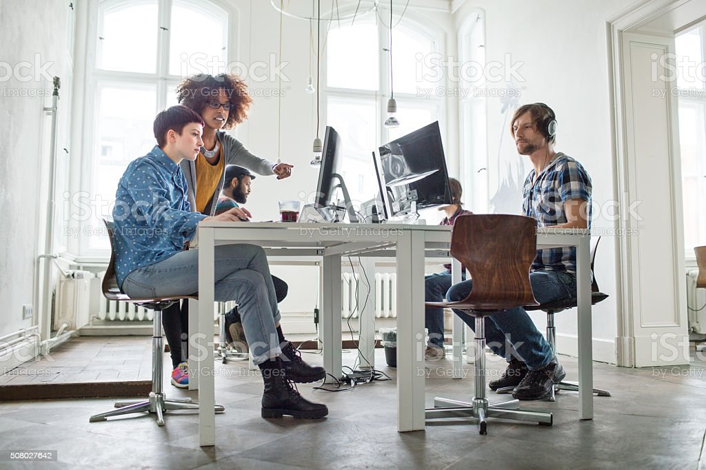 Creative team working at a startup stock photo