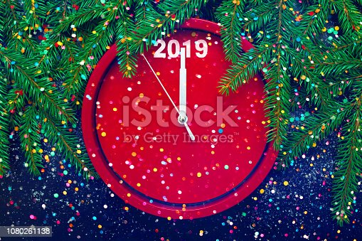 istock Creative template for Greeting card Happy New Year 1080261138