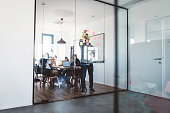 Businesswomen and businessmen sitting in the conference/meeting room. Modern designed office space with glass doors and modern furniture. The office space is perfect for a team of young people starting a start-up company.