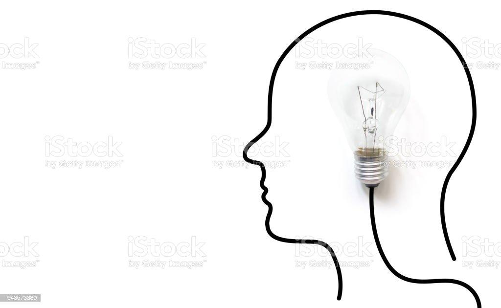 Kreatives Denken Ideen Brain Innovationkonzept Glühbirne Auf Weißem