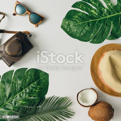 istock Creative  tropical summer travel layout. Flat lay.  Vacation concept. 670818334