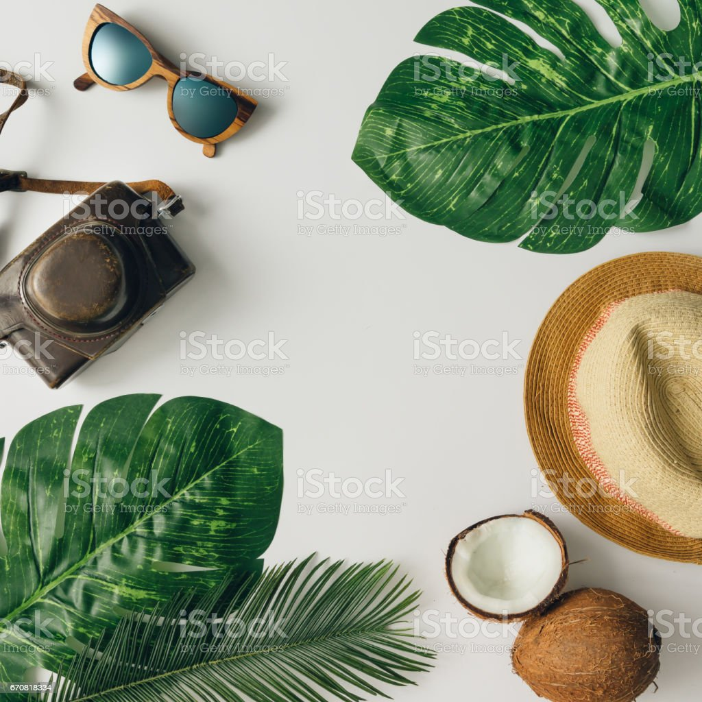 Creative  tropical summer travel layout. Flat lay.  Vacation concept. stock photo