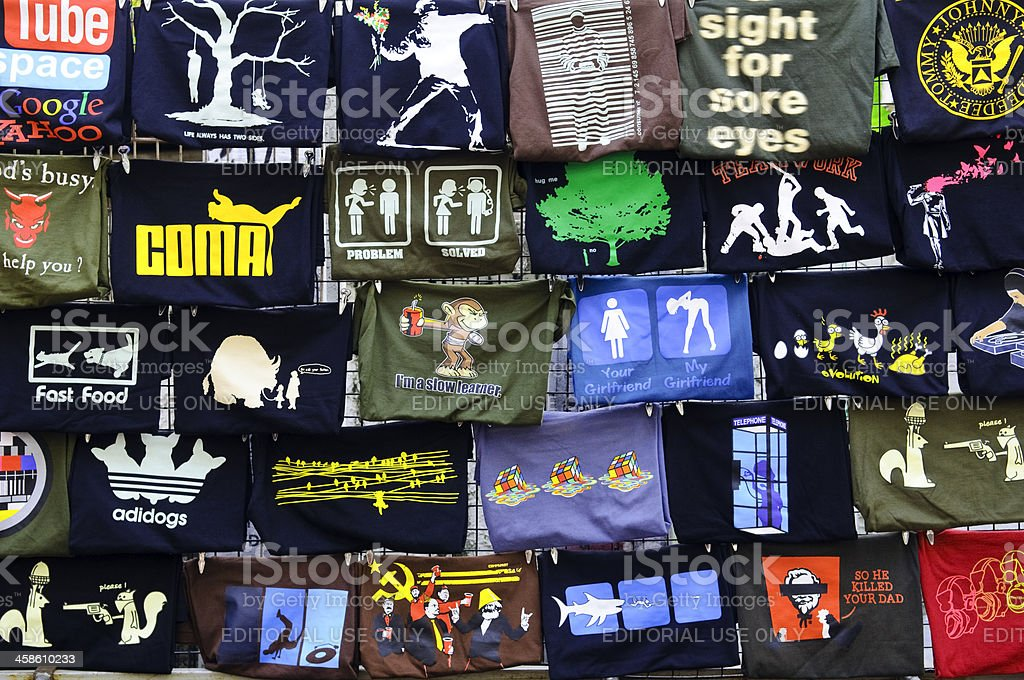 Creative t-shirts in Bangkok, Thailand stock photo