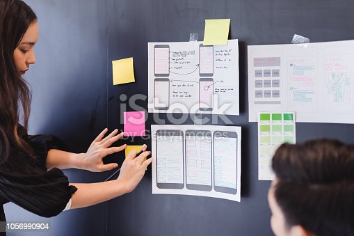 1182469817istockphoto Creative ux designer team developing wireframe sketch layout design mockup on smartphone screen. 1056990904