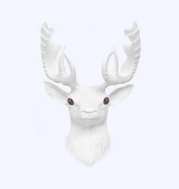 Kreative weiße Kunststoff fab Weihnachten Hirsch auf pastellblauen Hintergrund. Winterkonzept Neujahr. – Foto