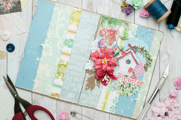 creative workplace with a card, scrapbooking