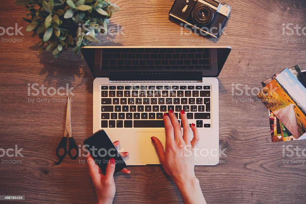 creative workspace stock photo