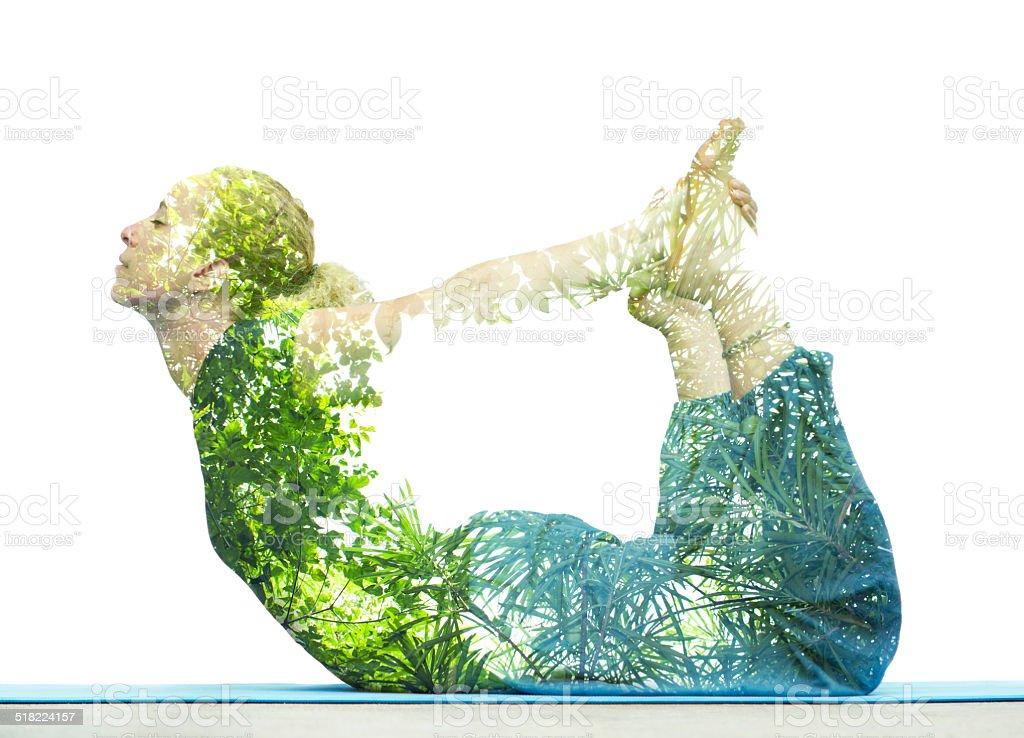 Creative yoga concept stock photo