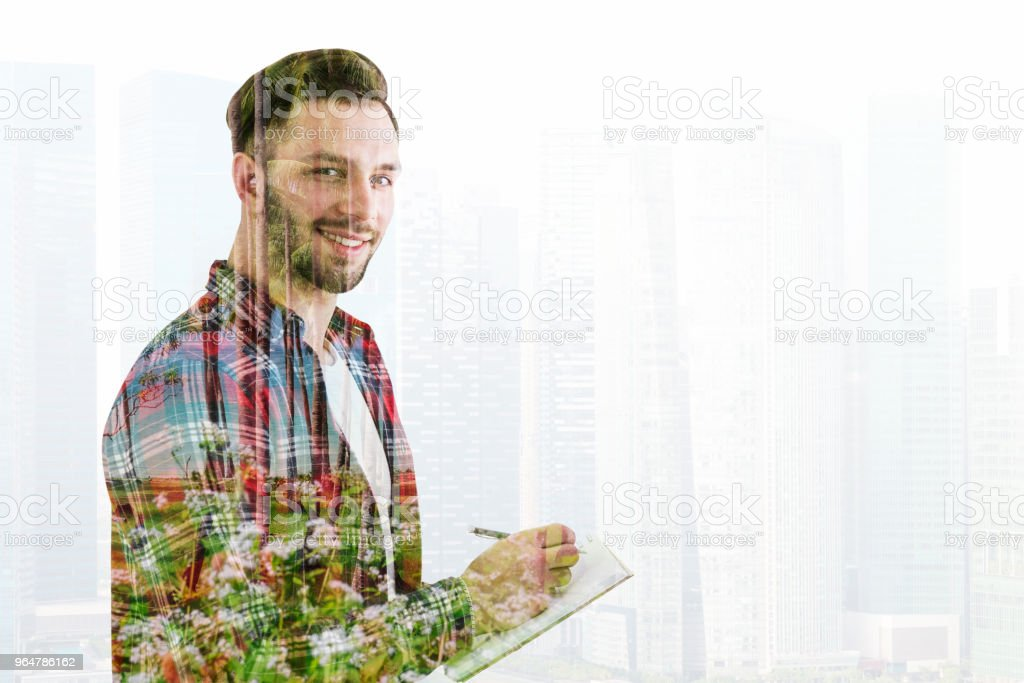 Creative young man in a city royalty-free stock photo