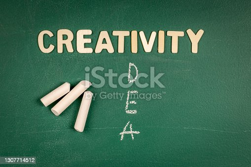 Creativity and Idea concept. Letters of the alphabet on a green chalk board.
