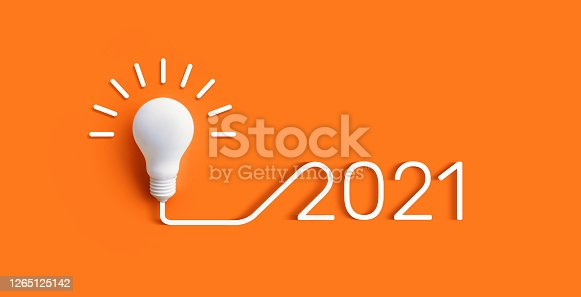 2021 Creativity and nspiration ideas concepts with lightbulb on pastel color background.Business solution