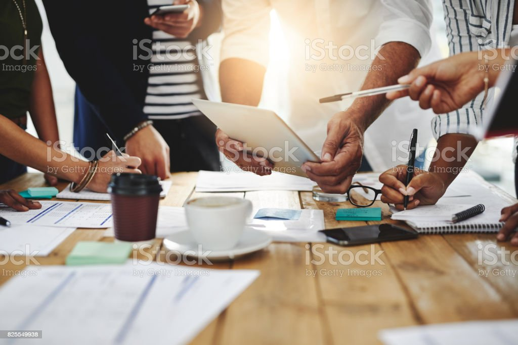 Creativity, brainstorming, planning, teamwork, execution then success stock photo