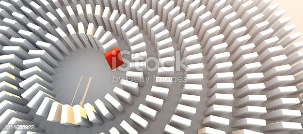 istock creativity business ideas concept white and red block stack in row pattern on white floor 3D illustration 1214655922