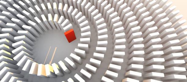 Kreativität Business Ideen Konzept weiß und rot Block Stapel in Reihe Muster auf weißem Boden 3D-Illustration – Foto