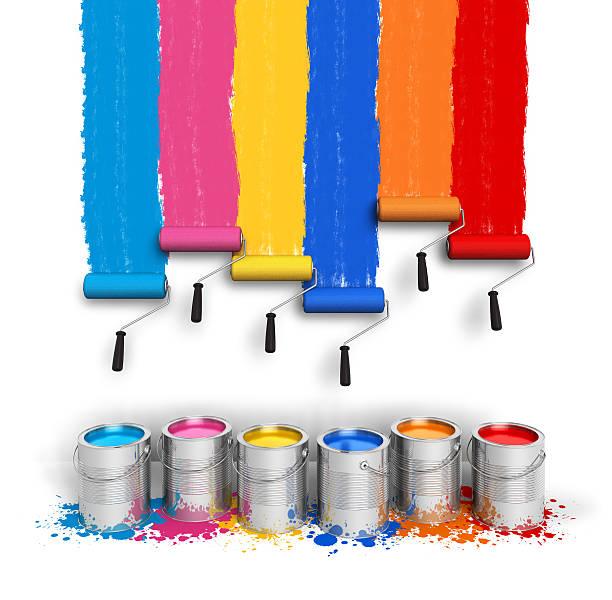 kreativität-konzept: farbe roller pinsel mit farbe wanderwege - farbiges glas stock-fotos und bilder