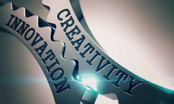 Kreativität-Innovation - Mechanismus der glänzenden Metall Zahnräder. 3D – Foto