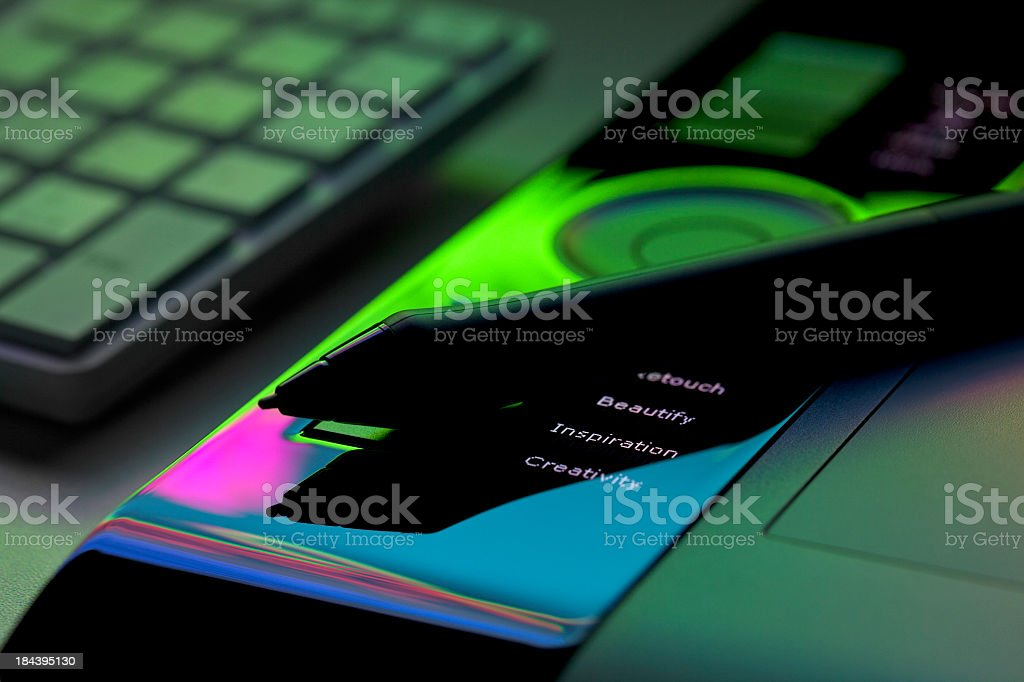 Creativity, Inspiration, Beauty And Retouch On Digital Tablet stock photo