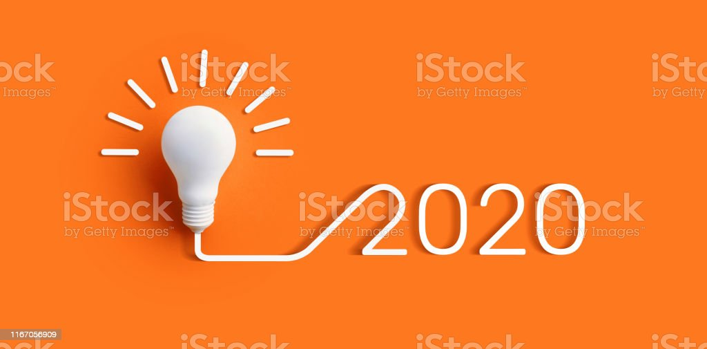 2020 creativity inspiration concepts with lightbulb on color...