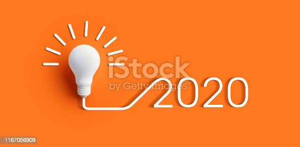 2020 creativity inspiration concepts with lightbulb on color background.Business solution,planning ideas.glowing contents