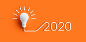 istock 2020 creativity inspiration concepts with lightbulb on color background.Business solution 1167056909