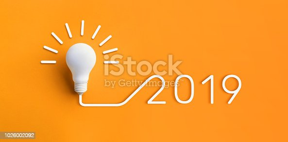 istock 2019 creativity inspiration concepts with lightbulb on pastel color background.Business solution,planning ideas 1026002092