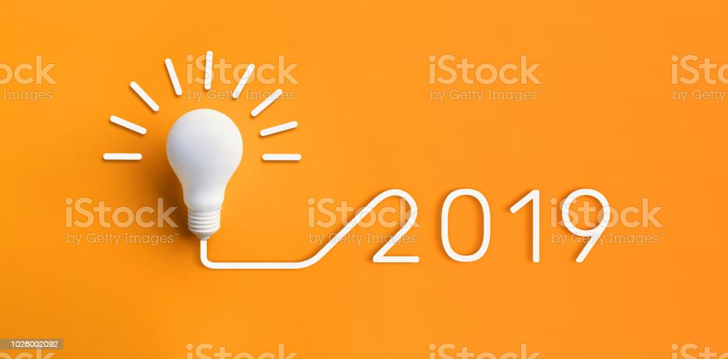 2019 creativity inspiration concepts with lightbulb on pastel color background.Business solution,planning ideas stock photo