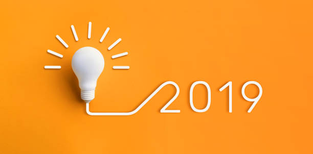 2019 creativity inspiration concepts with lightbulb on pastel color background.Business solution,planning ideas 2019 creativity inspiration concepts with lightbulb on pastel color background.Business solution,planning ideas.glowing contents 2019 stock pictures, royalty-free photos & images
