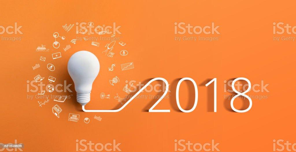 2018 creativity inspiration concepts with lightbulb.Business idea stock photo