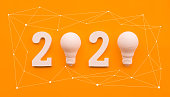 istock 2020 creativity inspiration concepts with text nuber and lightbulb on color background.Business resolution 1165908292