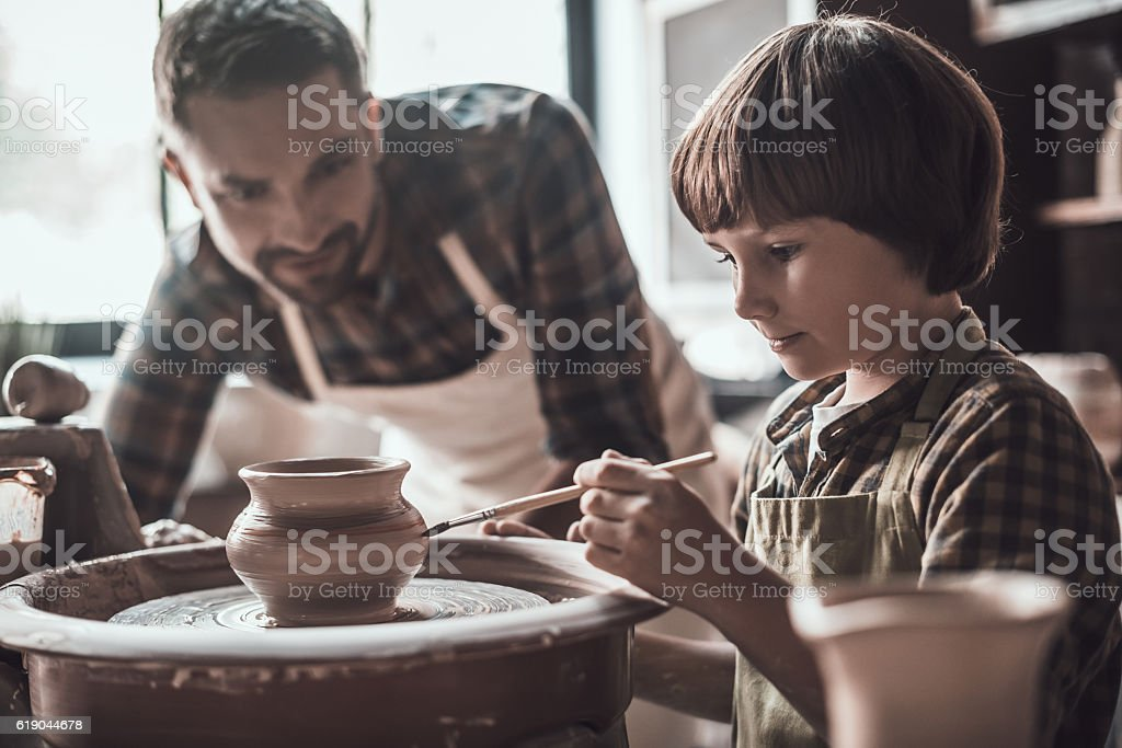 Creativity is in his veins. stock photo