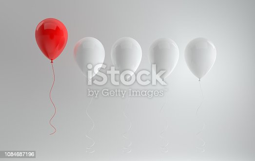 istock Creativity or being different , stand out from the crowd concept. Floating red and white glossy balloons on white background with reflections and shadows. 3D rendering 1084687196