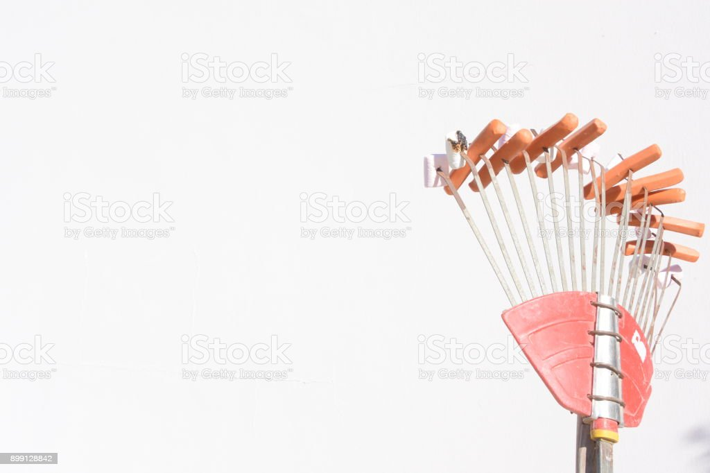Creativity Preparation of hot dogs on the fire stock photo