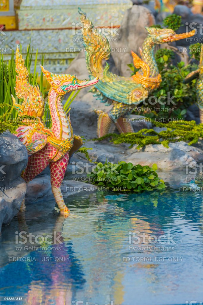 Creature sculpture, to decorate the Royal Crematorium stock photo