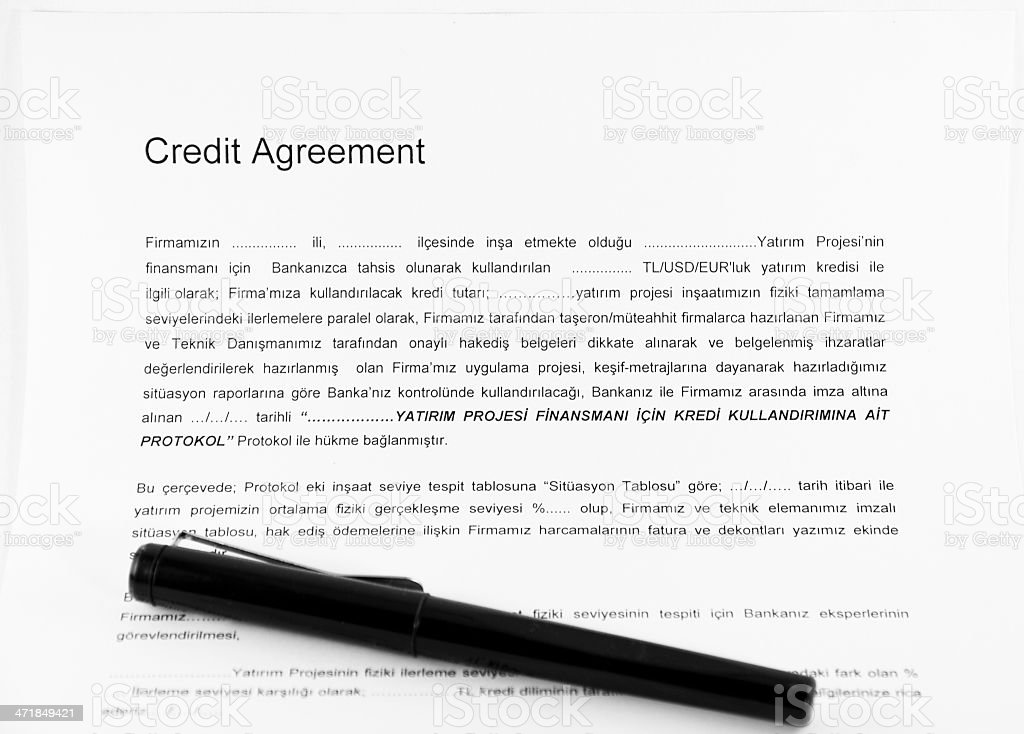 Credit Agreement royalty-free stock photo