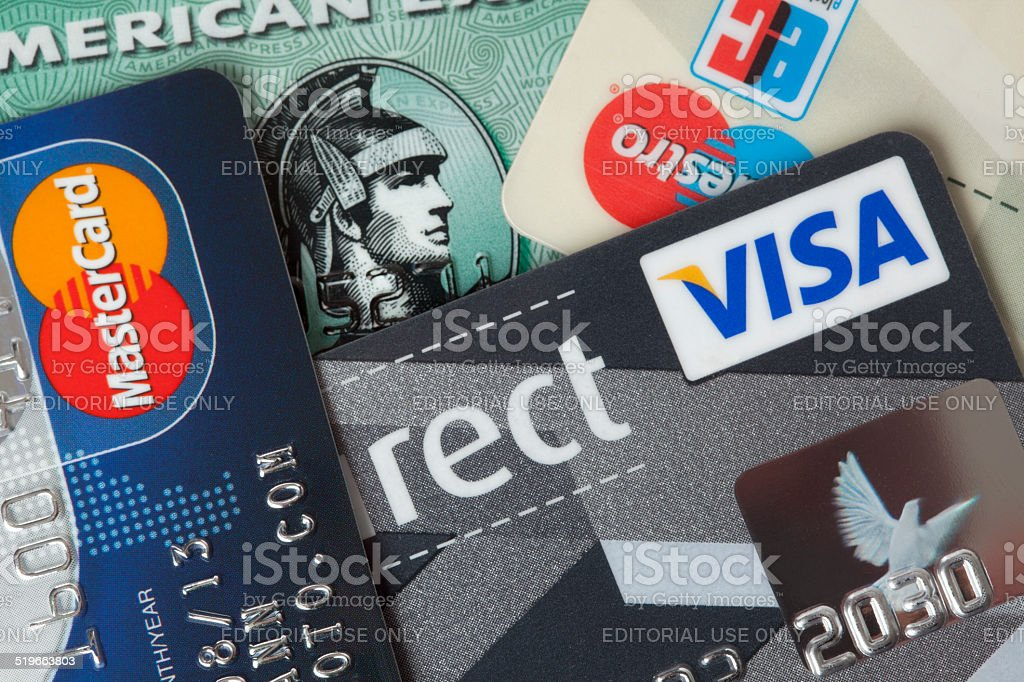 Credit and debit cards closeup stock photo