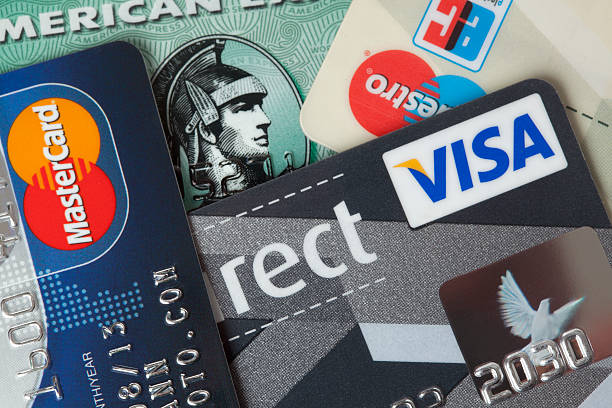 Credit and debit cards closeup stock photo