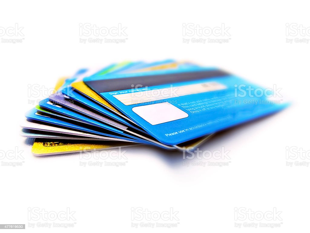 Credit and debit cards stack stock photo