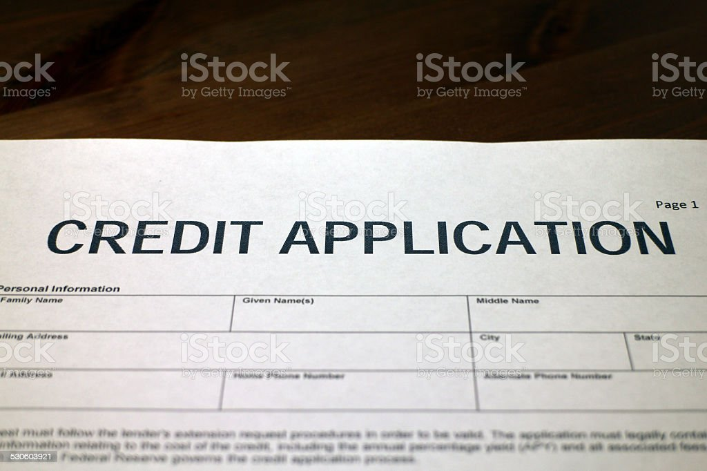 Credit Application Document stock photo