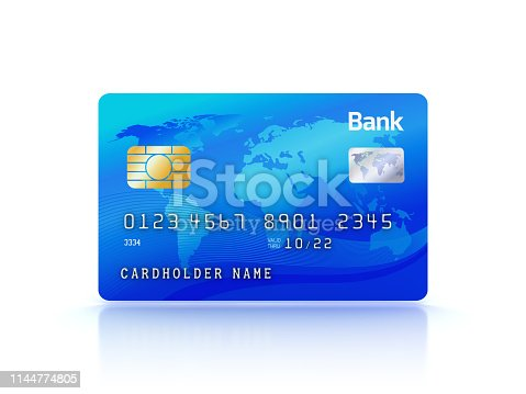 Credit Card - White Background - 3D Rendering