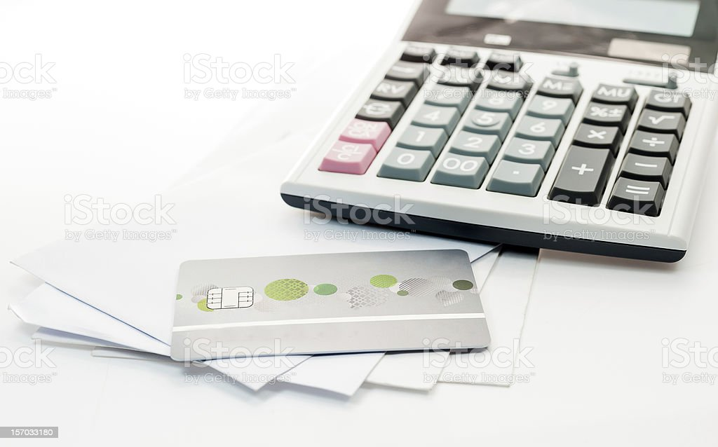 Credit card and Calculator on white Envelope isolate stock photo