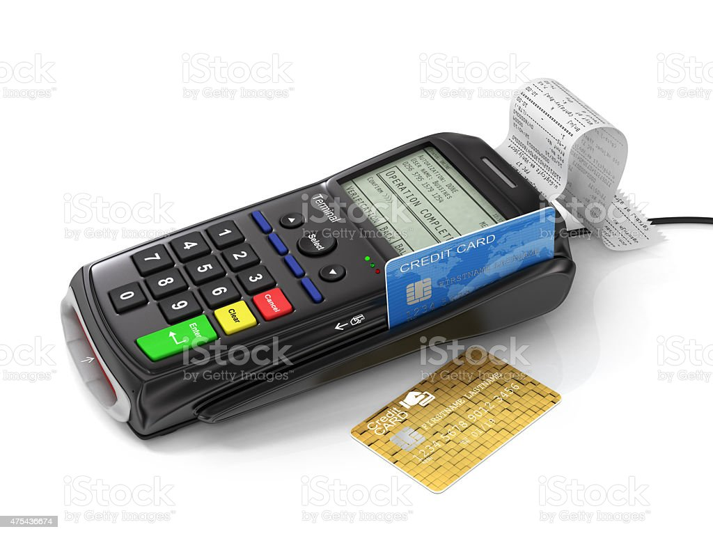 Credit card and card reader machine on tht white background. stock photo