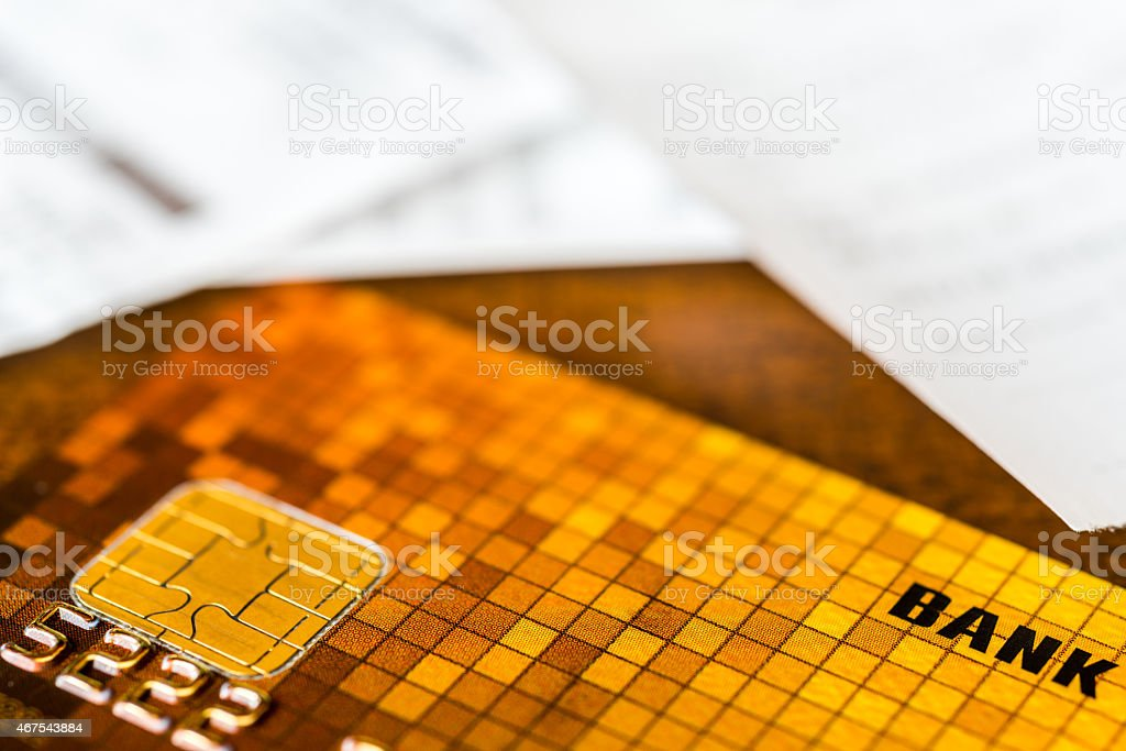 Credit card and check from shopping on the table stock photo