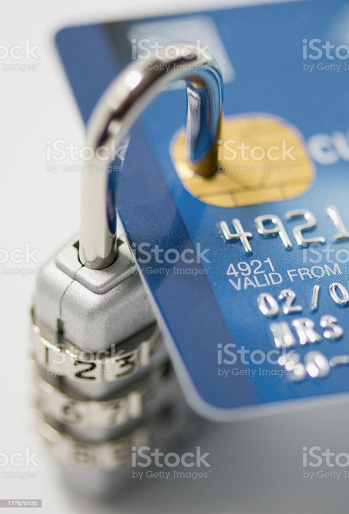 credit card and padlock stock photo