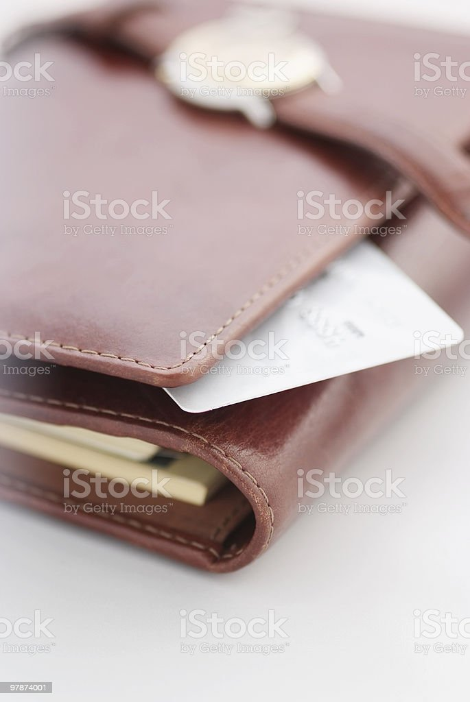 credit card and  watch on an agenda royalty-free stock photo