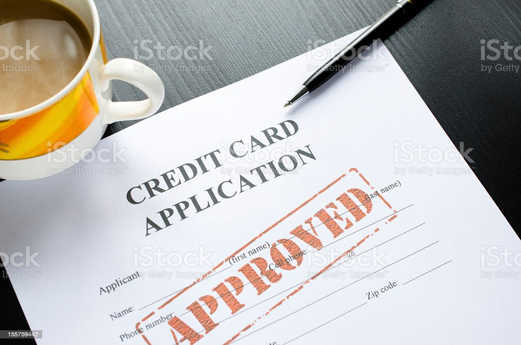 credit card application - approved royalty-free stock photo