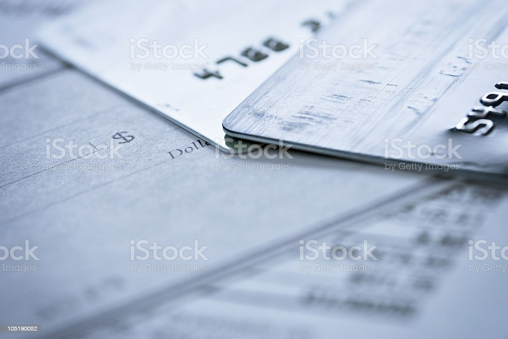 Credit Card Blank Check on Financial Documents stock photo